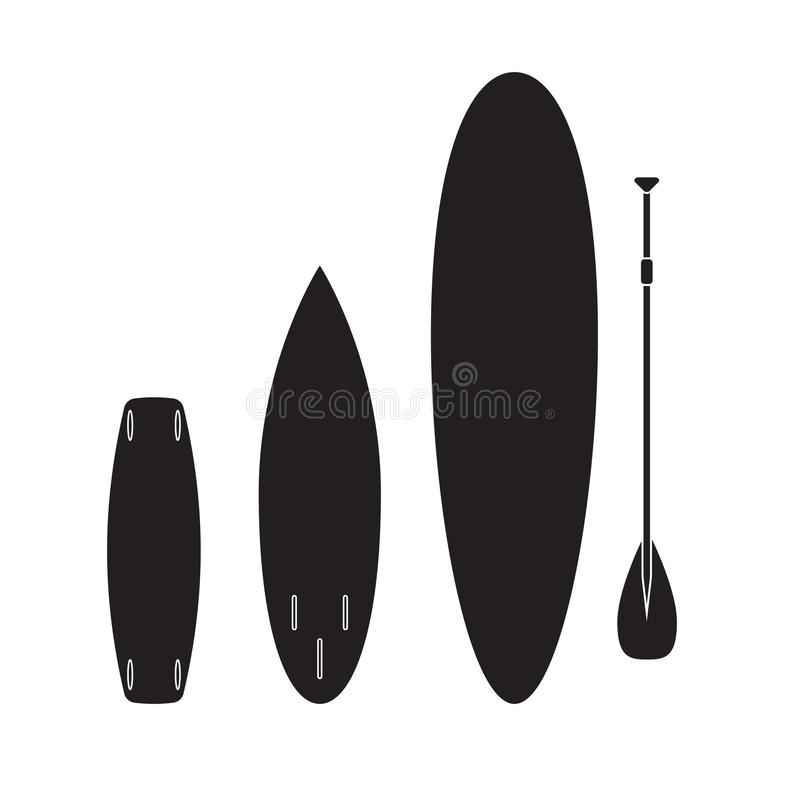 Vector set of black surf paddle and wake boards. Vector flat cartoon set collection of black different surf stand up paddle and wake boards isolated on white stock illustration