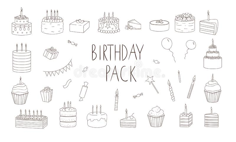 Vector set of black and white cakes with candles, balloons, presents. stock illustration