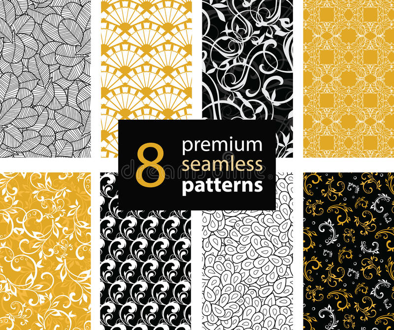 Vector Set of Black, White and Gold Yellow Abstract Trendy Seamless Repeat Patterns. Great For Fabric, Wrappring Paper royalty free illustration