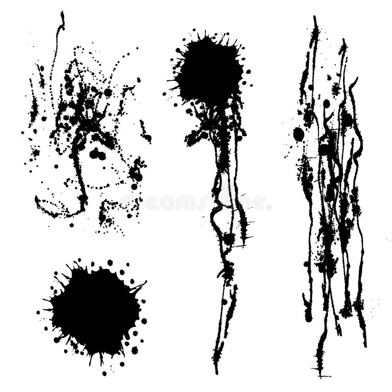 Vector set of black and white inc splash, blots, smudge and brush strokes,. On the white background. Series of elements for design stock illustration