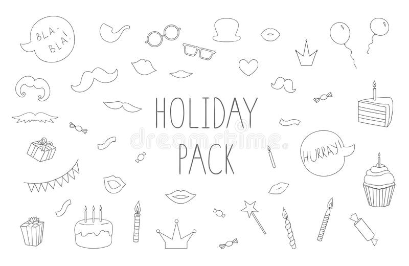 Vector set of black and white photo booth props, cakes, candles, balloons royalty free illustration
