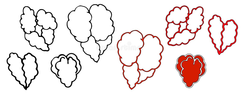Set. Hearts Isolated on white background. Valentine`s Day. royalty free illustration