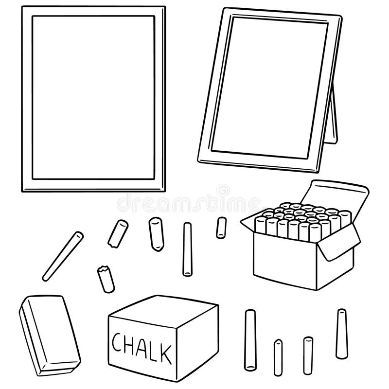 Vector set of blackboard and chalk vector illustration