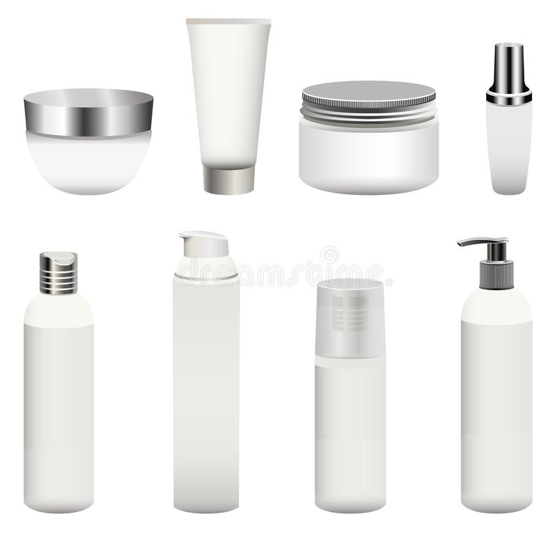Vector set of blank cosmetics packages bottles, containers, cream jars and other isolated on white background. Realistic mock-up stock illustration