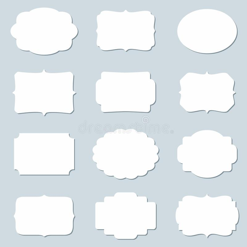 Vector set of blank frames and empty tags vector illustration