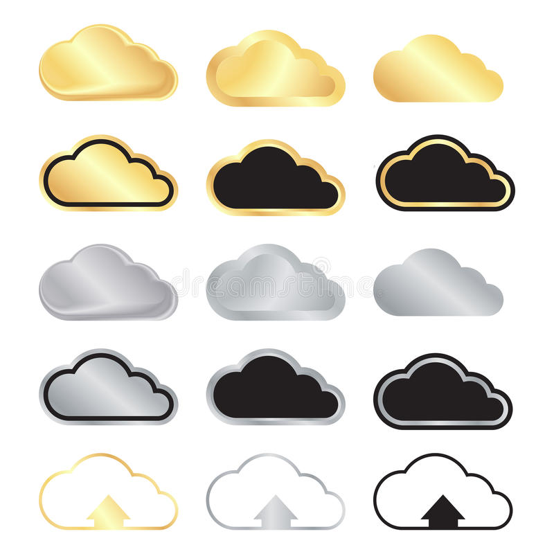 Vector set of blank gold and silver clouds and black with gold a royalty free illustration