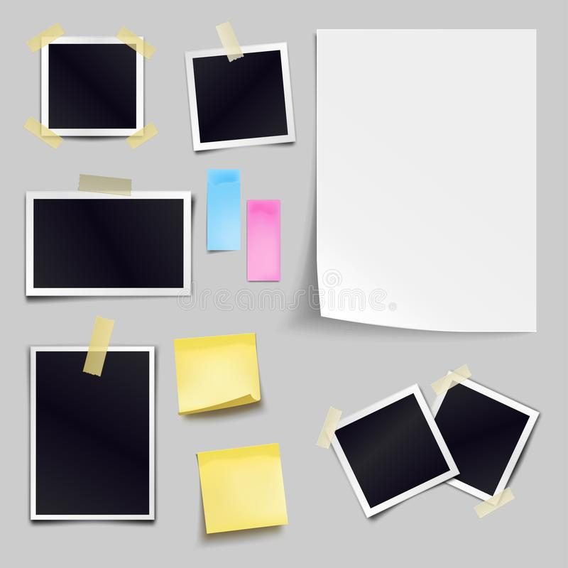 Vector set of blank paper objects. Empty white sheet of A4 vector illustration