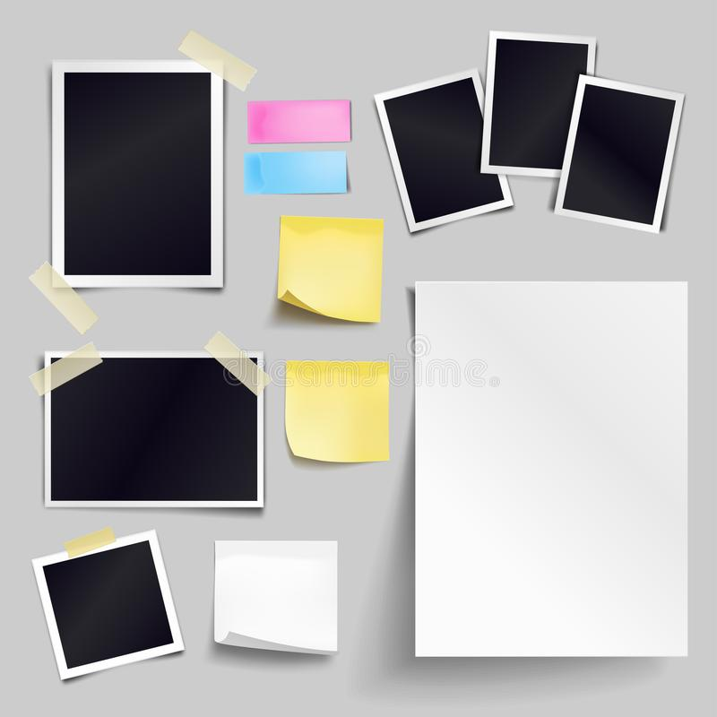 Vector set of blank paper objects. Empty white sheet of A4 stock illustration