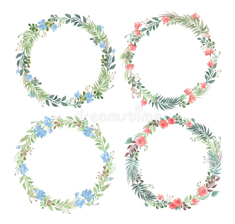 Vector set of blank round floral frames in watercolor style isolated on white background royalty free illustration