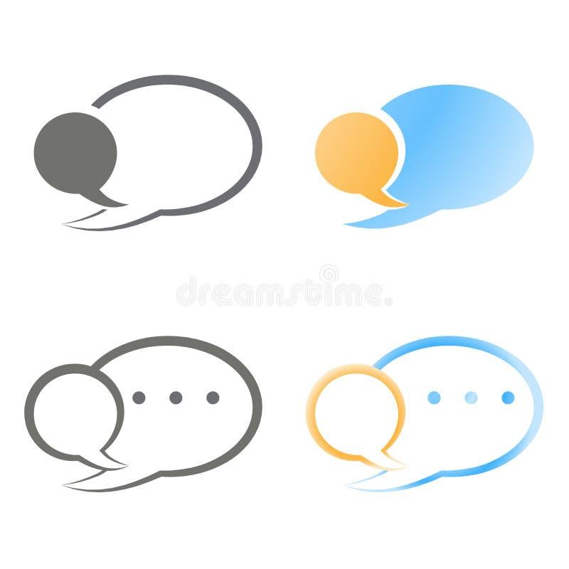 Vector set of blank speech bubbles blue, orange and black color vector illustration