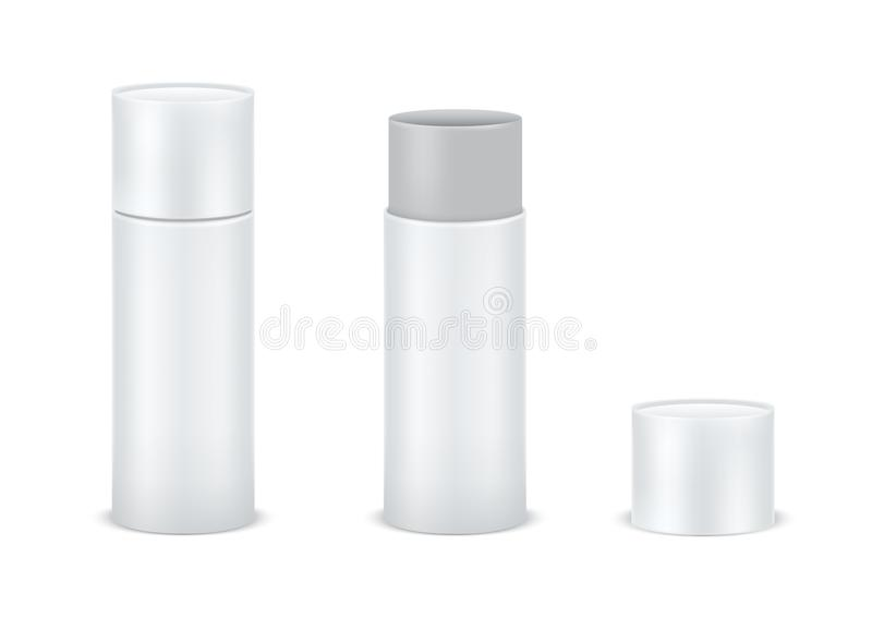 Vector set blank white cardboard cylinder box mockup. Tube for package design Isolated on white background. Vector royalty free illustration