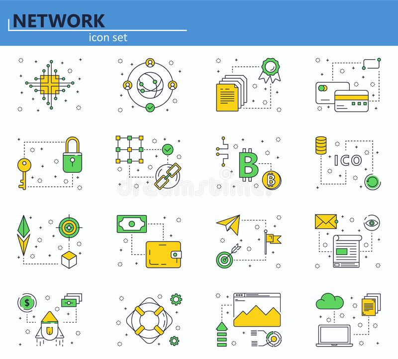 Vector set of blockchain technology and cryptocurrency icons in thin line style. Bitcoin, ethereum, ICO. Website UI and vector illustration