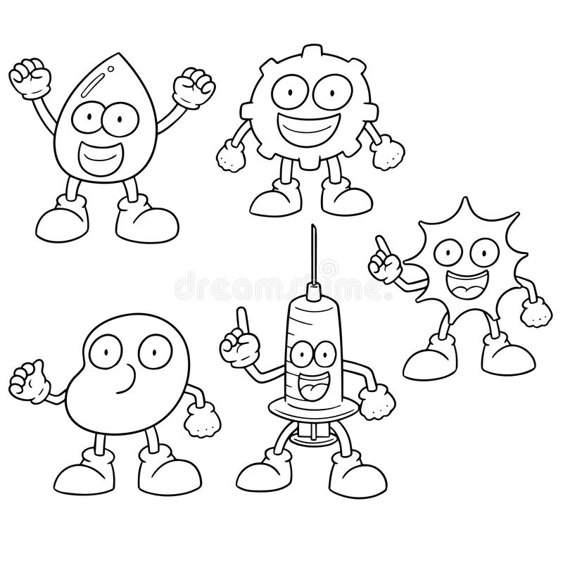 Vector set of blood. Hand drawn cartoon, doodle illustration stock illustration