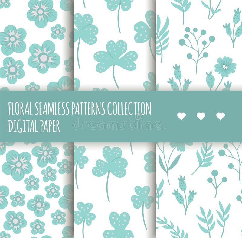 Vector set of blue floral seamless backgrounds stock illustration