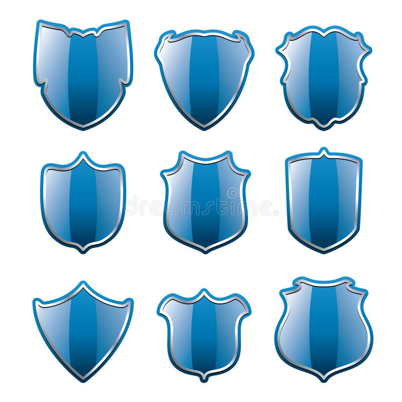 Download Vector set of blue shields stock vector. Illustration of anti - 26522612