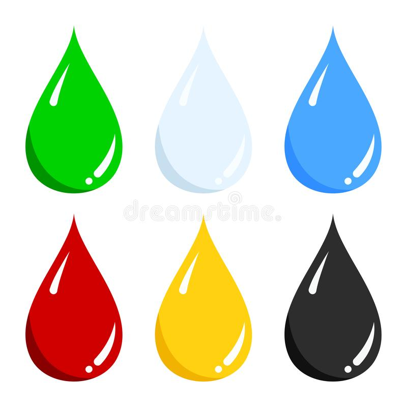Vector set of blue water, green, light blue milk, red blood, yellow honey, black oil liquid drop icon isolated on white stock illustration