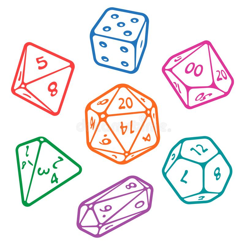 Vector set of board game dices stock illustration