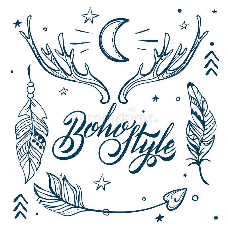 Download Vector Set Of Boho Style Elements Lettering Calligraphy Text Tattoo Template Trendy