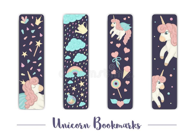 Vector set of bookmarks for children with unicorn theme. Cute rainbow, clouds, crystals, hearts on dark purple background. Vertical layout card templates vector illustration