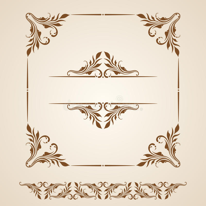 Vector set of borders, decorative elements. stock illustration