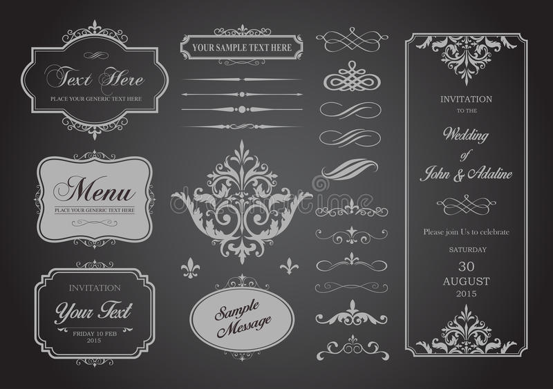 Vector Set of Borders, Frames and Page Dividers. This image is a vector file representing a Vector Set of Borders, Frames and Page Dividers design illustration royalty free illustration