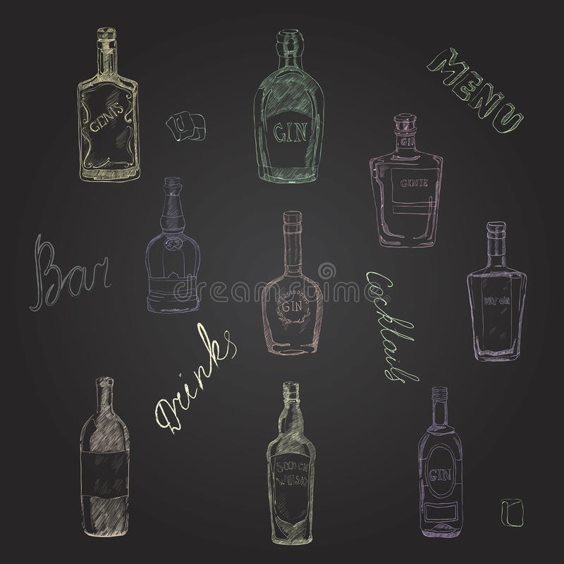 Vector set of bottles with alcohol, seamless pattern. stock photos