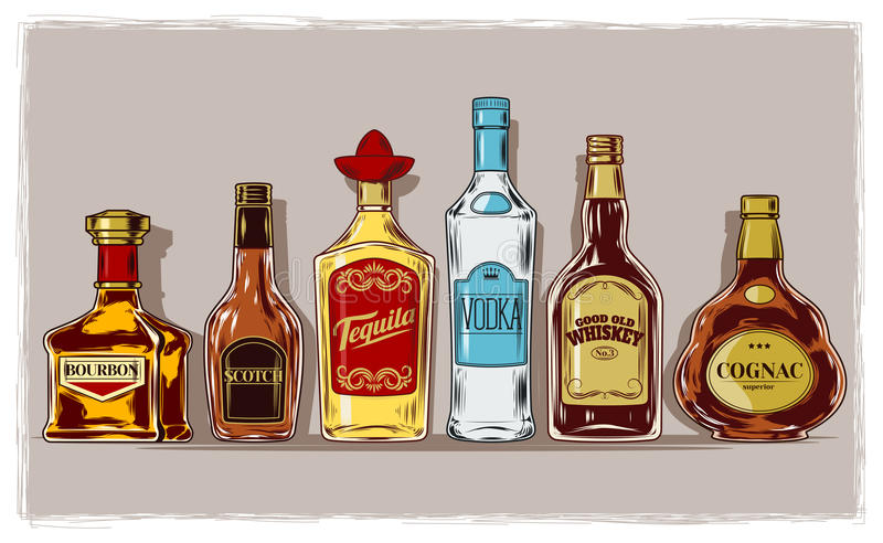 Vector set of bottles with alcohol and stemware. Engraving royalty free illustration