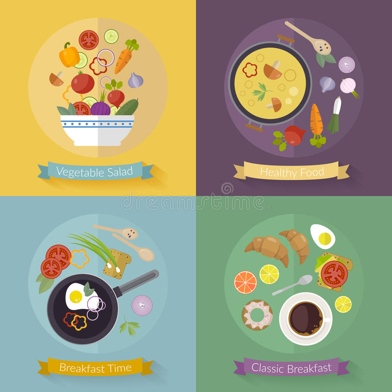 Vector set breakfast time and vegetables with flat icons. Fresh food and drinks in flat style. royalty free stock photography