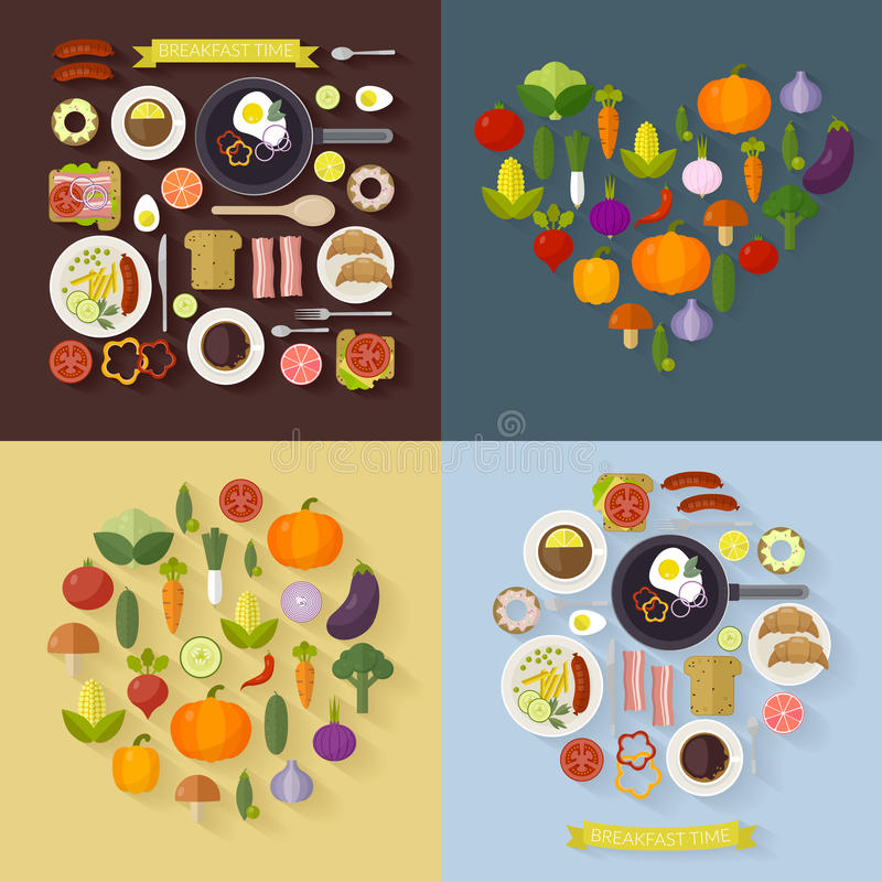 Vector set breakfast time and vegetables with flat icons. Fresh food and drinks in flat style. stock illustration