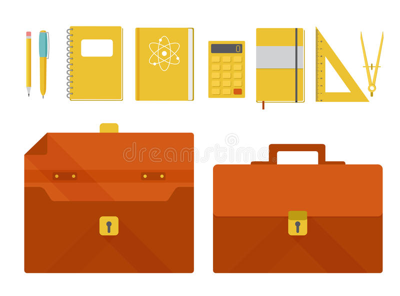 Vector set of briefcase and school supplies royalty free illustration