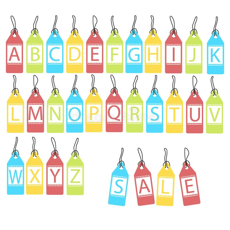 Vector set of bright different letters. abstract alphabet royalty free illustration