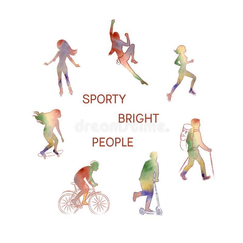 Vector set of a bright people silhouettes. Roller-skating, climbing, running, skating, a bike, a kick-scooter, hiking. royalty free illustration