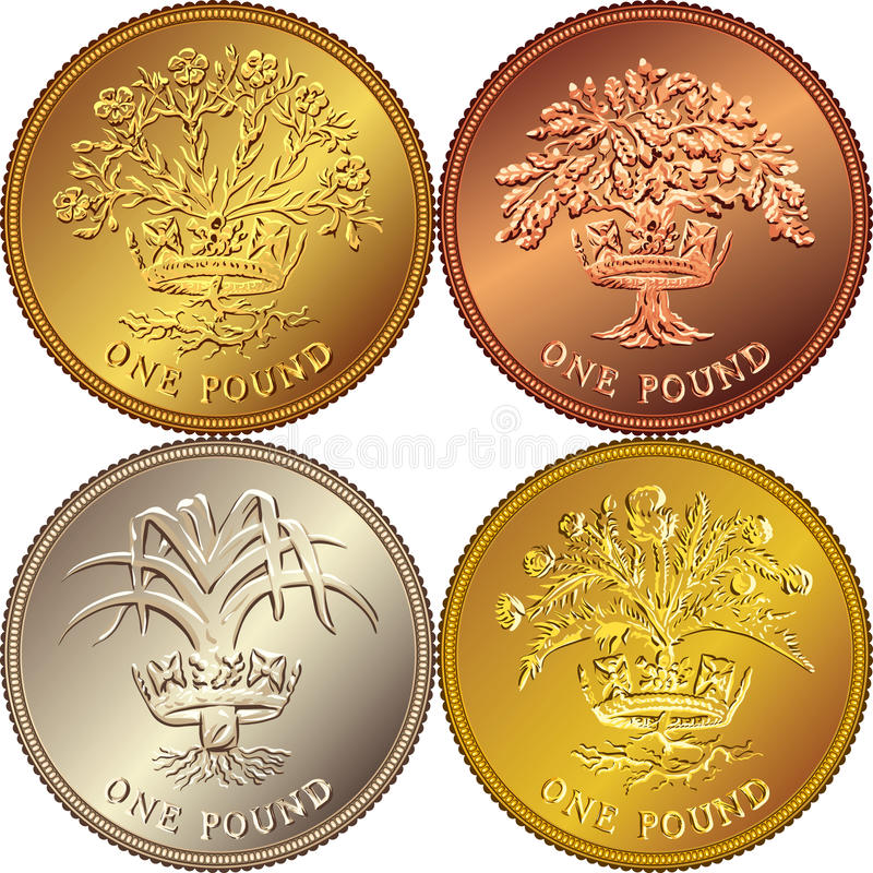 Vector Set British money gold coin one pound. Set British money gold coin one pound sterling with the emblems: Thistle and royal diadem representing Scotland royalty free illustration