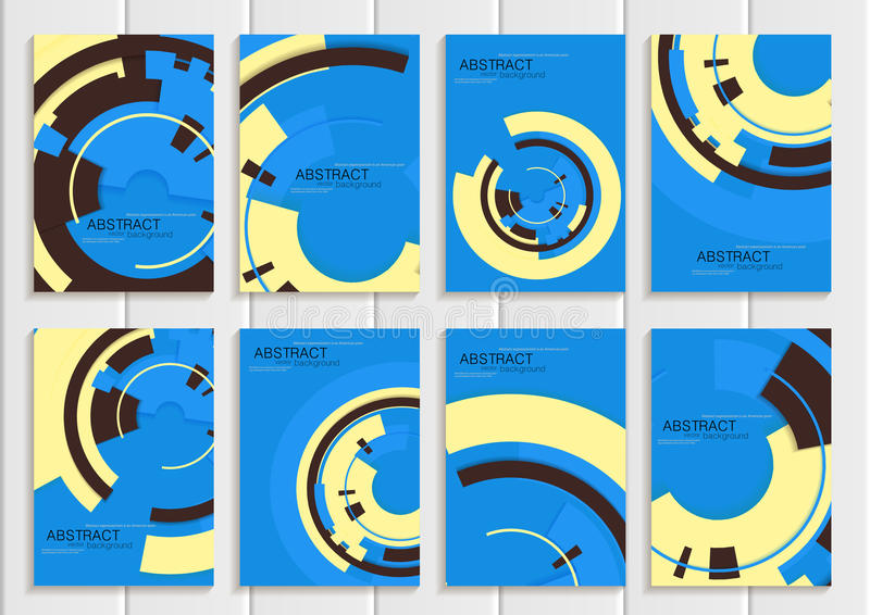 Vector set of brochures in abstract style with yellow shapes on blue background stock illustration