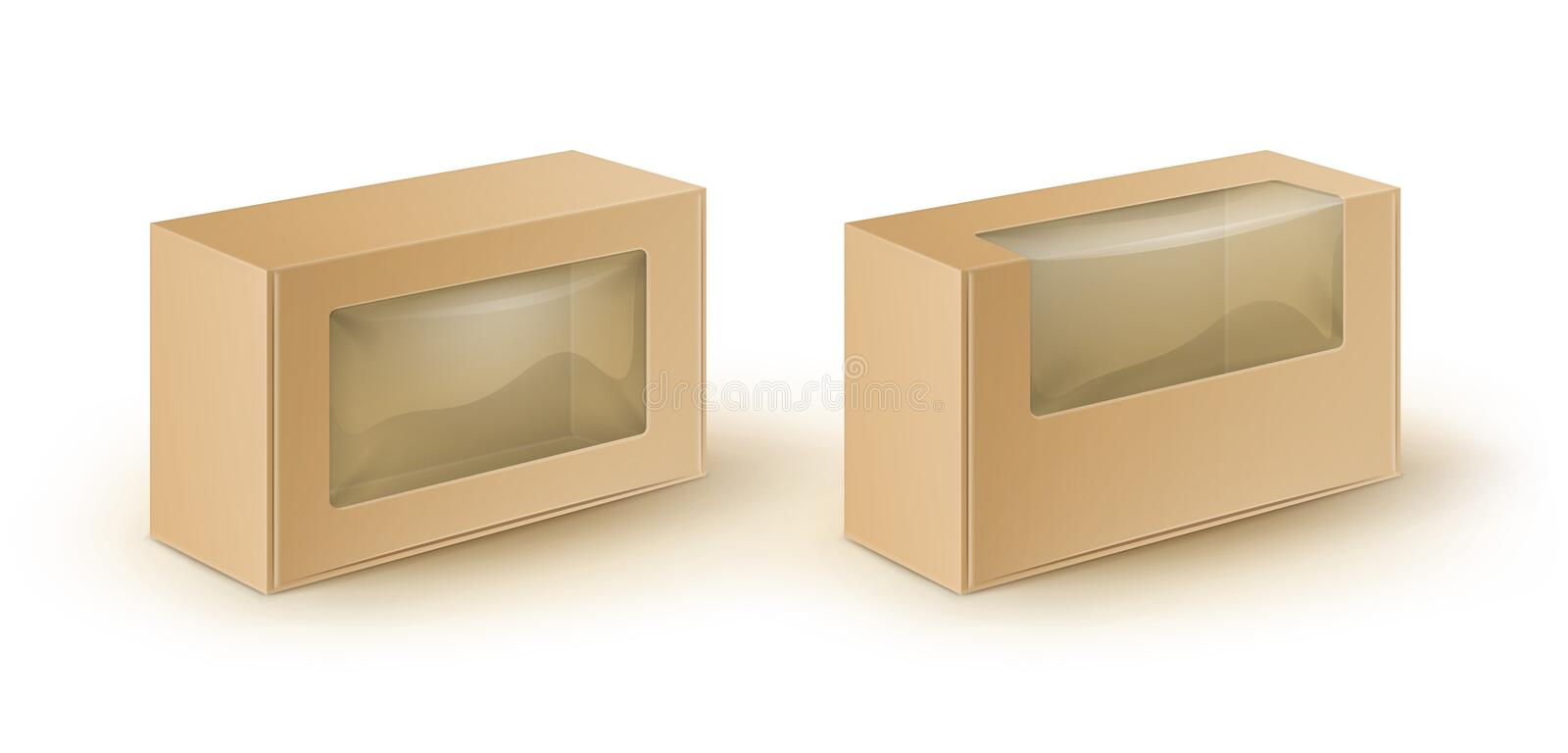 Vector Set of Brown Blank Cardboard Take Away Boxes Packaging For Sandwich, Food Close up on White Background. Vector Set of Brown Blank Cardboard Rectangle Take vector illustration