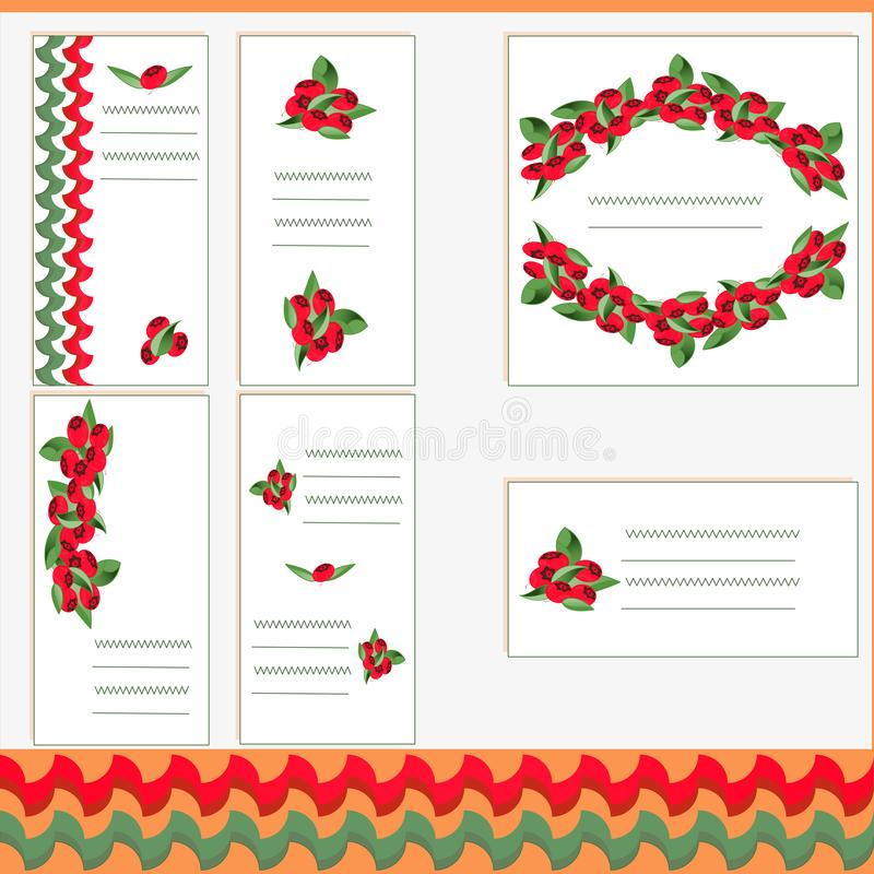Vector set of business card templates, square postcards and banners with image of forest berries. vector illustration