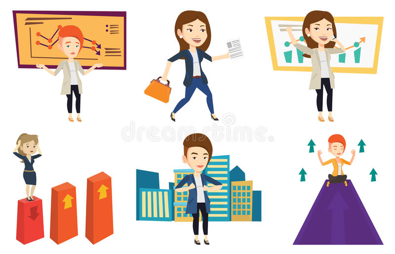 Vector set of business characters. royalty free illustration