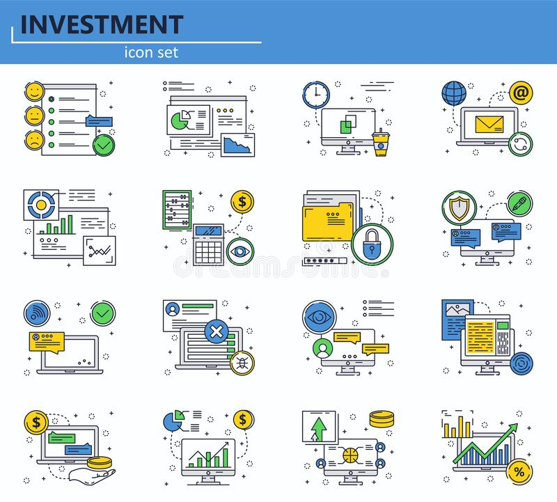 Vector set of business and office icons in thin line style. Online chat and customer support. Website UI and mobile web royalty free illustration