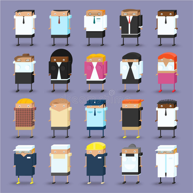 Vector Set of Business people isometric royalty free illustration