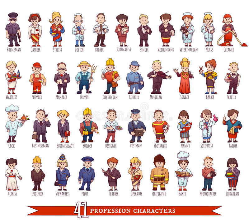 Vector set of business people, such as policeman royalty free stock image