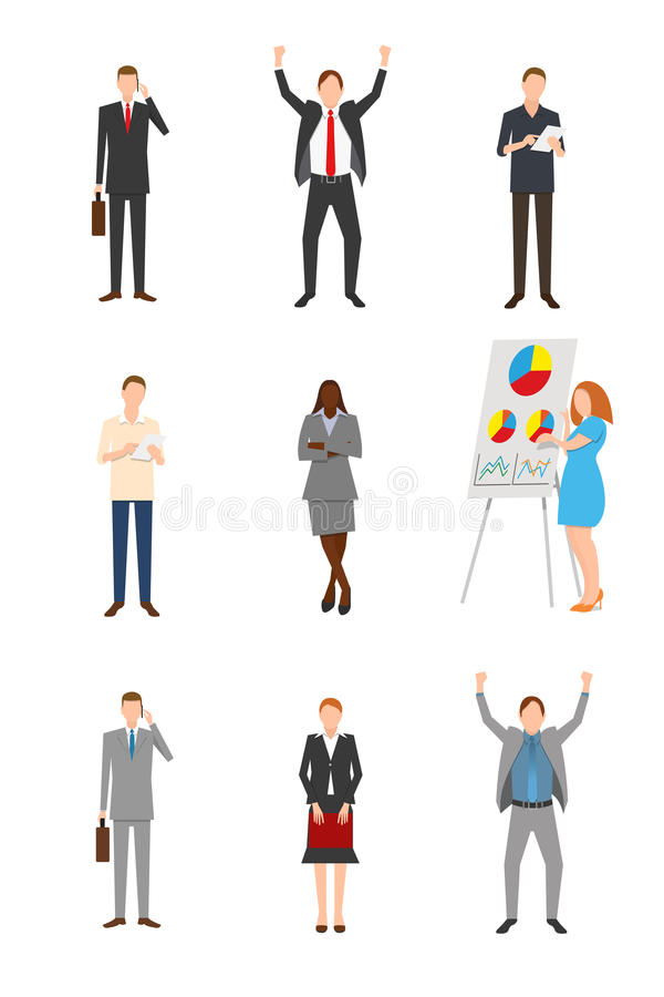 Vector set of business people stock image