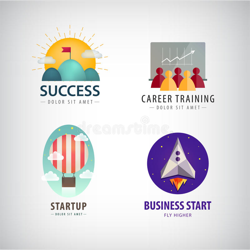 Vector set of business start up logos, career training, corporate, success. Vector set of business start up logos, career training logo, corporate, business royalty free illustration
