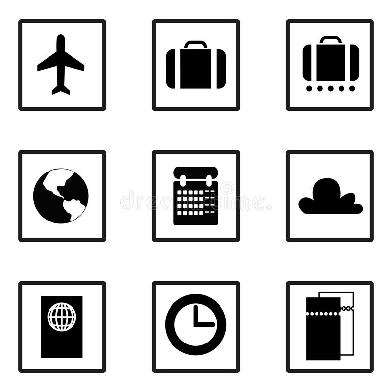 Vector. Set of business travel icons. Plane, suitcase, luggage, earth, map, calendar, cloud, passport, clock, time, tickets. royalty free illustration
