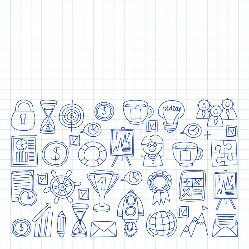 Vector set of bussines icons in doodle style. painted by penon a piece of paper in cage royalty free illustration