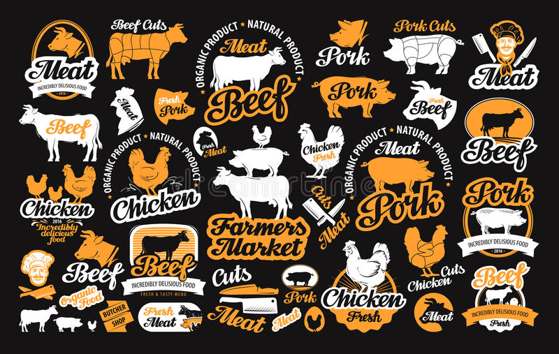 Vector set of butchery labels, logos, icons, design elements. Vector set of butchery labels, logos, icons and design elements vector illustration