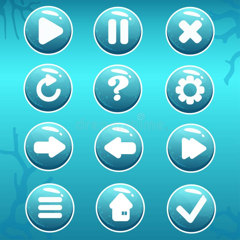 GUI Asset of Nautical Buttons. Vector set of buttons devoted to nautical topic. Perfect GUI for the sea or ocean game or other graphic design works royalty free illustration