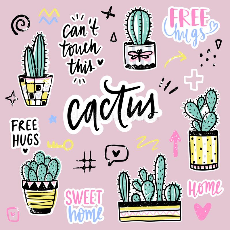 Vector set with cactuses, positive phrases, elements. stock illustration