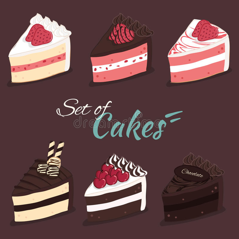 Vector set of cakes royalty free illustration