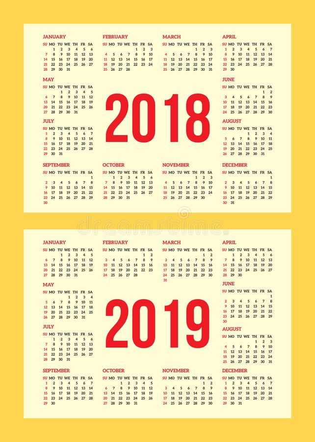 Vector set of calendar grid for years 2018 2019 for business cards download vector set of calendar grid for years 2018 2019 for business cards on background colourmoves