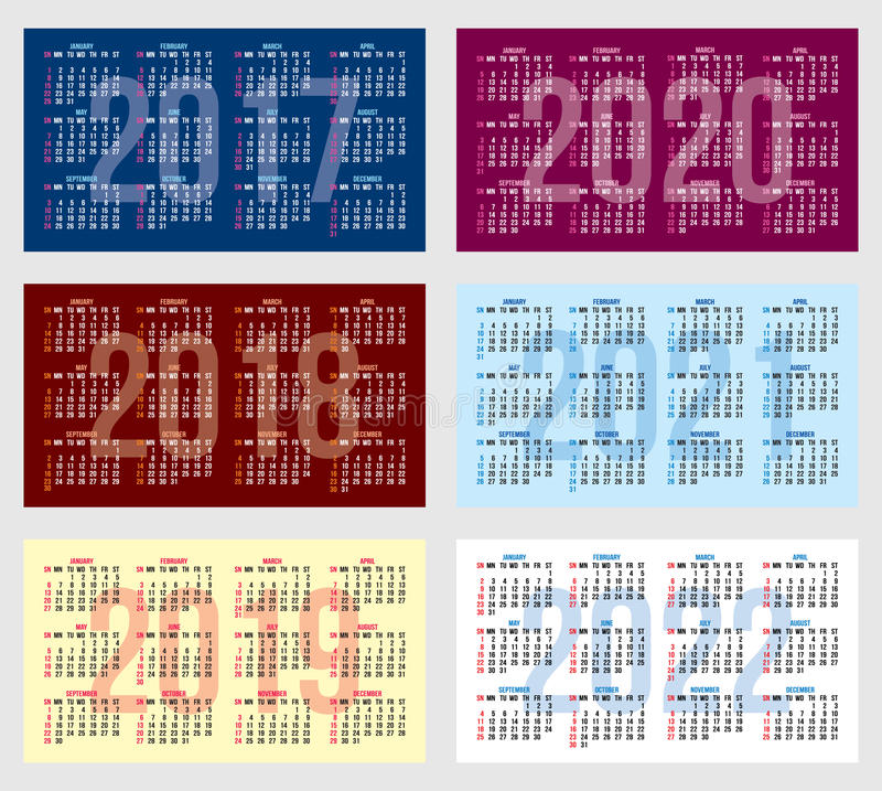 Vector set of calendar grid for years 2017 2022 for business cards download vector set of calendar grid for years 2017 2022 for business cards stock vector colourmoves Images
